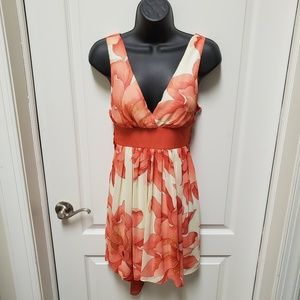 TWENTY ONE White and Coral Floral Party Dress M